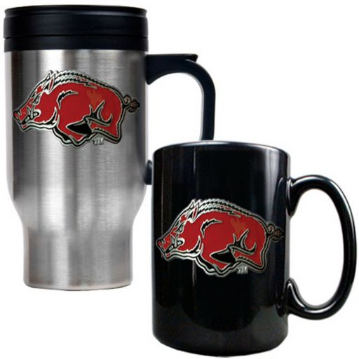 Arkansas Razorbacks 2-pc. Stainless Steel Mug and Ceramic Mug Set