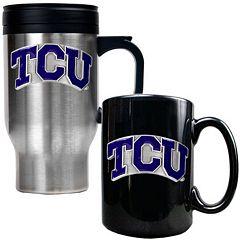 TCU Horned Frogs 2 pc Stainless Steel Mug & Ceramic Mug Set