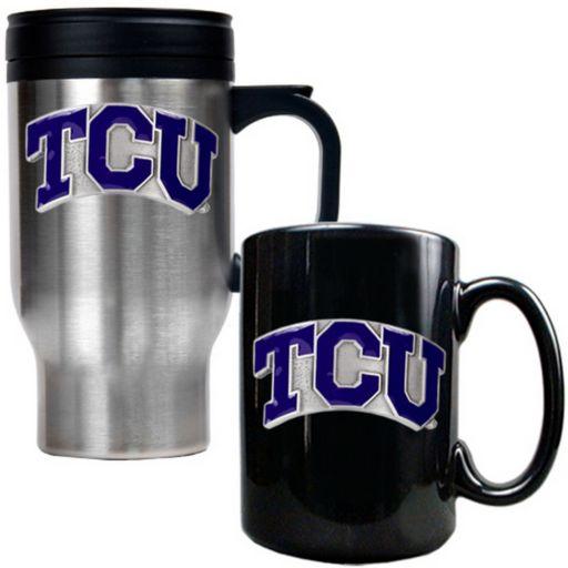 TCU Horned Frogs 2-pc. Stainless Steel Mug and Ceramic Mug Set
