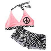 SO Zebra and Peace Sign 2-pc. Bikini Swimsuit Set - Girls 7-16