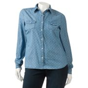 SO Chambray Polka-Dot Top - Juniors' Plus