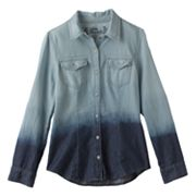 Mudd Dip-Dye Denim Shirt - Girls 7-16