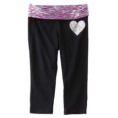 SO Zebra Fold-Over Skinny Yoga Capris - Girls 7-16
