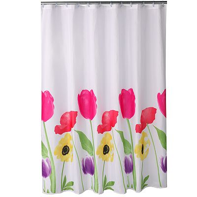 home classics bright blooms fabric shower curtain