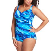 Trimshaper Watercolor One-Piece Swimsuit - Women's Plus