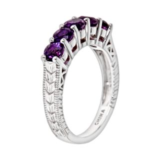Sterling Silver Amethyst Five-Stone Ring