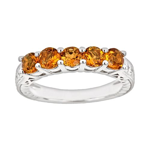 Sterling Silver Citrine Five-Stone Ring