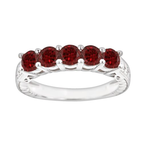 Sterling Silver Garnet Five-Stone Ring
