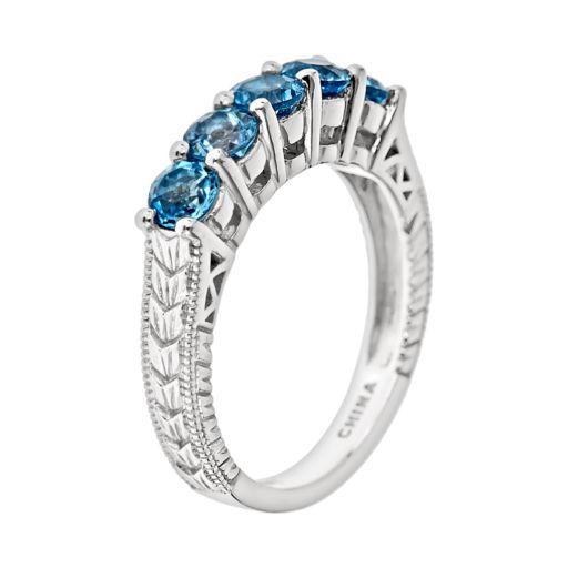 Sterling Silver Swiss Blue Topaz Five-Stone Ring