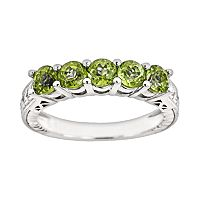 Sterling Silver Peridot Five-Stone Ring