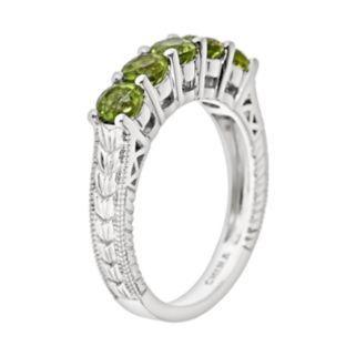Sterling Silver Peridot Five-Stone Ring
