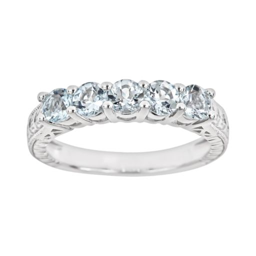 Sterling Silver Aquamarine Five-Stone Ring
