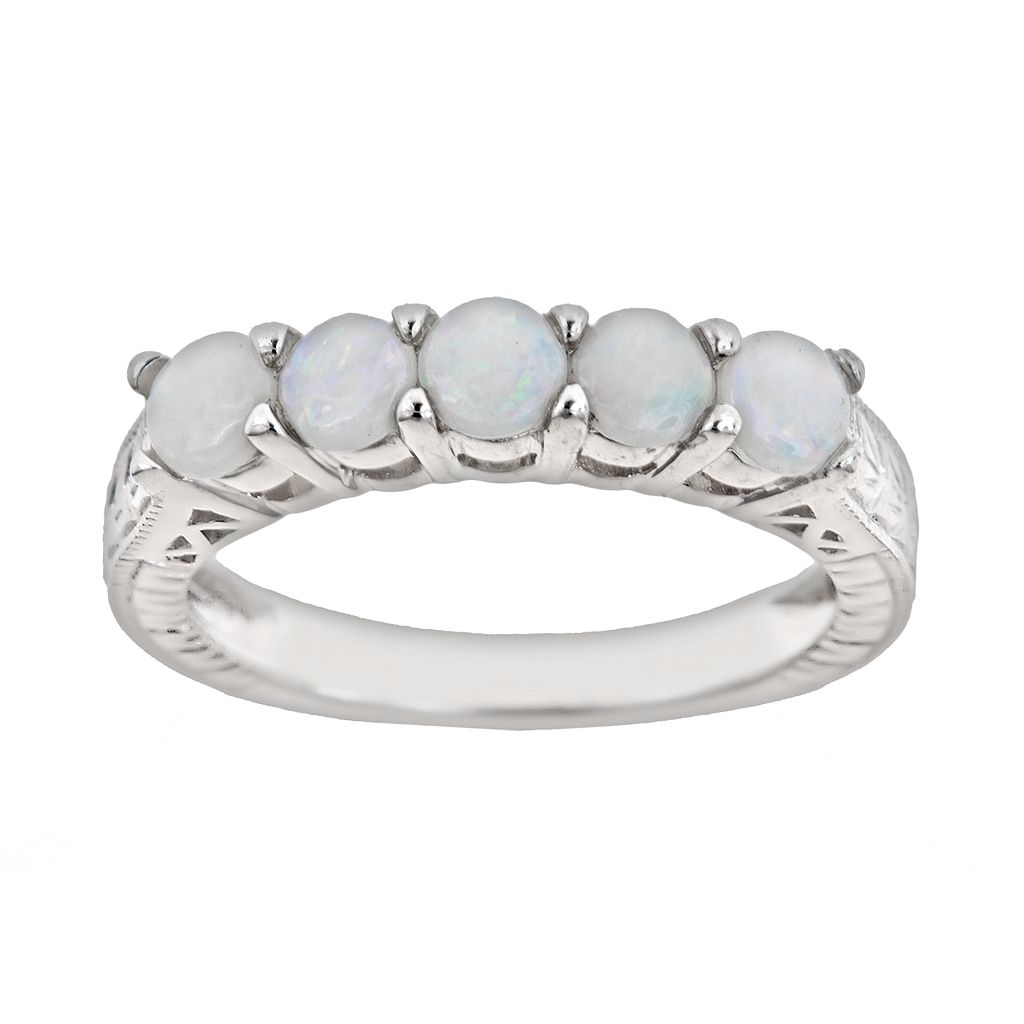Sterling Silver Opal Five-Stone Ring