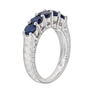 Sterling Silver Sapphire Five-Stone Ring