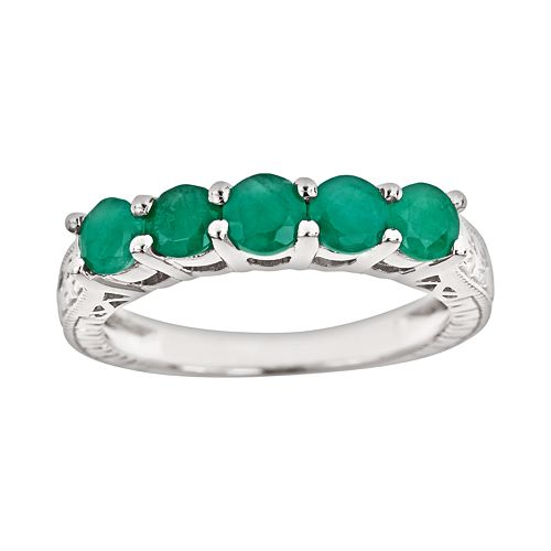 Sterling Silver Emerald Five Stone Ring