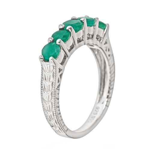 Sterling Silver Emerald Five-Stone Ring