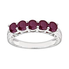 Sterling Silver Ruby Five-Stone Ring