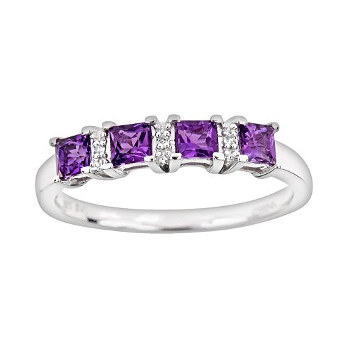 Sterling Silver Amethyst & Diamond Accent Ring