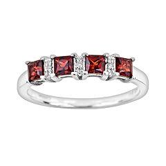Sterling Silver Garnet & Diamond Accent Ring