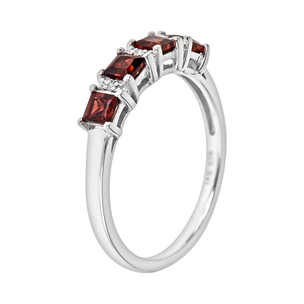 Sterling Silver Garnet and Diamond Accent Ring