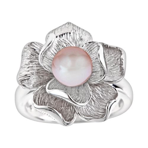 Sterling Silver Dyed Freshwater Cultured Pearl Flower Ring