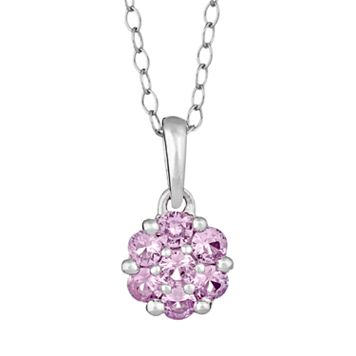 Sterling Silver Pink Sapphire Cluster Pendant