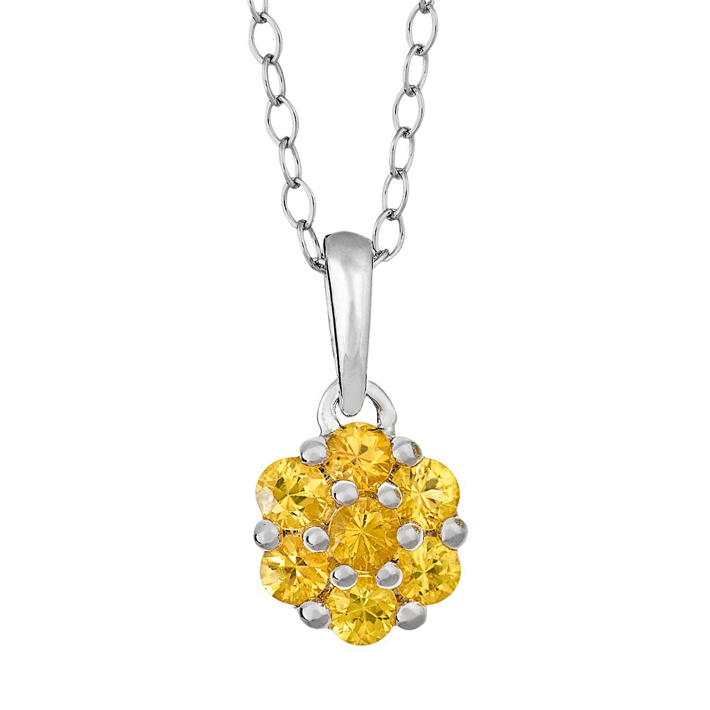 Sterling Silver Yellow Sapphire Cluster Pendant