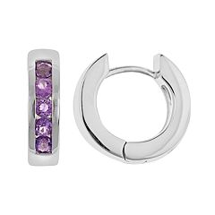Sterling Silver Amethyst Hinged Hoop Earrings