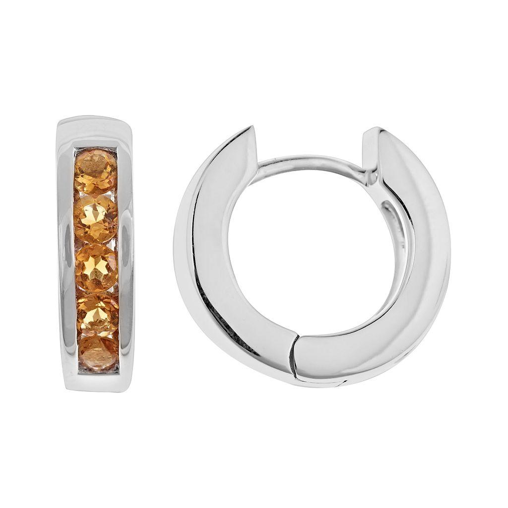 Sterling Silver Citrine Hinged Hoop Earrings