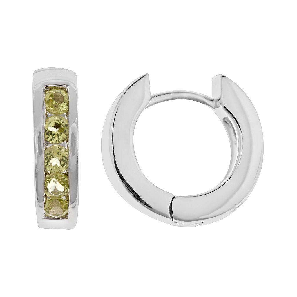 Sterling Silver Peridot Hinged Hoop Earrings