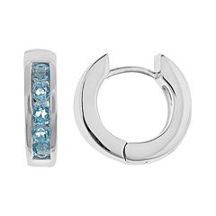 Sterling Silver Blue Topaz Hinged Hoop Earrings