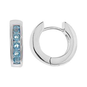 Sterling Silver Blue Topaz Hinged Hoop Earrings