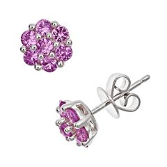 Sterling Silver Pink Sapphire Cluster Stud Earrings