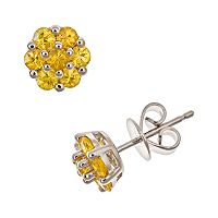 Sterling Silver Yellow Sapphire Cluster Stud Earrings