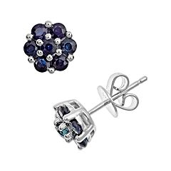 Sterling Silver Blue Sapphire Cluster Stud Earrings