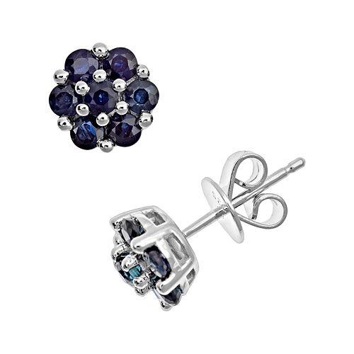 Sterling Silver Blue Sapphire Cluster Stud Earrings