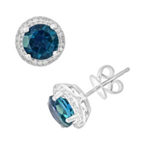Sterling Silver London Blue Topaz and .15-ct. T.W. Diamond Frame Stud Earrings