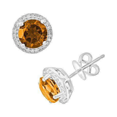Sterling Silver Citrine & .15-ct. T.W. Diamond Frame Stud Earrings