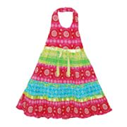 Blueberi Boulevard Geometric Tiered Halter Sundress - Girls 4-6x