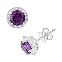 Sterling Silver Amethyst & .15 ctT.W. Diamond Frame Stud Earrings