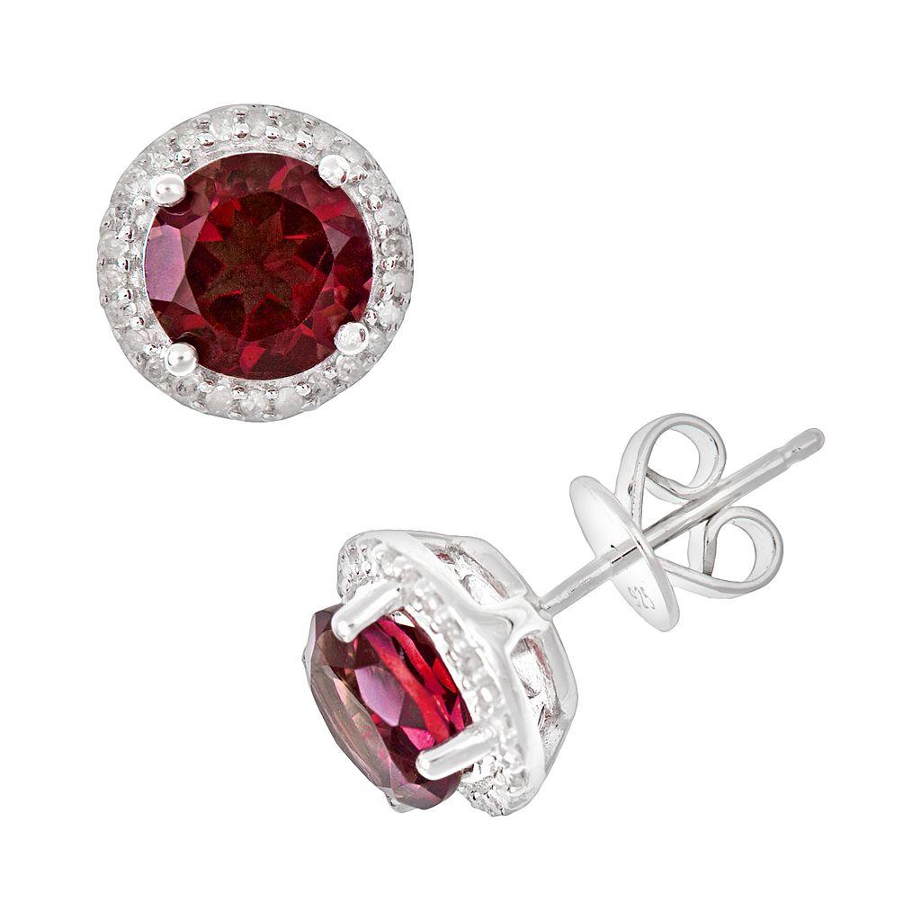 Sterling Silver Garnet & .15-ct. T.W. Diamond Frame Stud Earrings