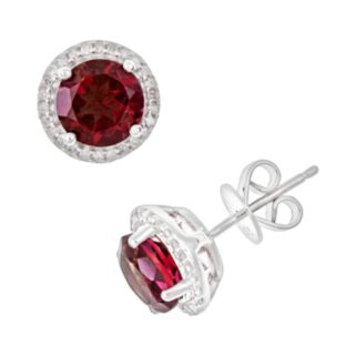 Sterling Silver Garnet and .15-ct. T.W. Diamond Frame Stud Earrings