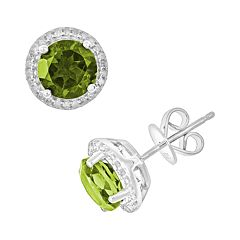 Sterling Silver Peridot & .15 ctT.W. Diamond Frame Stud Earrings