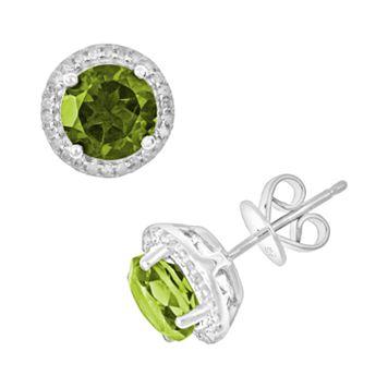 Sterling Silver Peridot & .15-ct. T.W. Diamond Frame Stud Earrings
