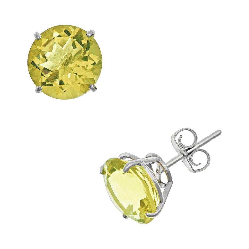 Sterling Silver Lime Quartz Stud Earrings