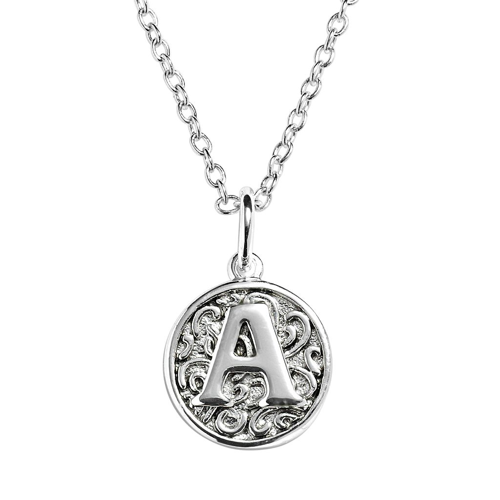 Silver Plated Bali Initial Disc Pendant