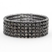 Franco Gia Simulated Crystal Multirow Stretch Bracelet