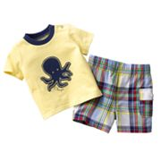 Chaps Octopus Tee and Plaid Shorts Set - Baby