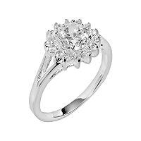 Silver Plate Cubic Zirconia Sunburst Ring