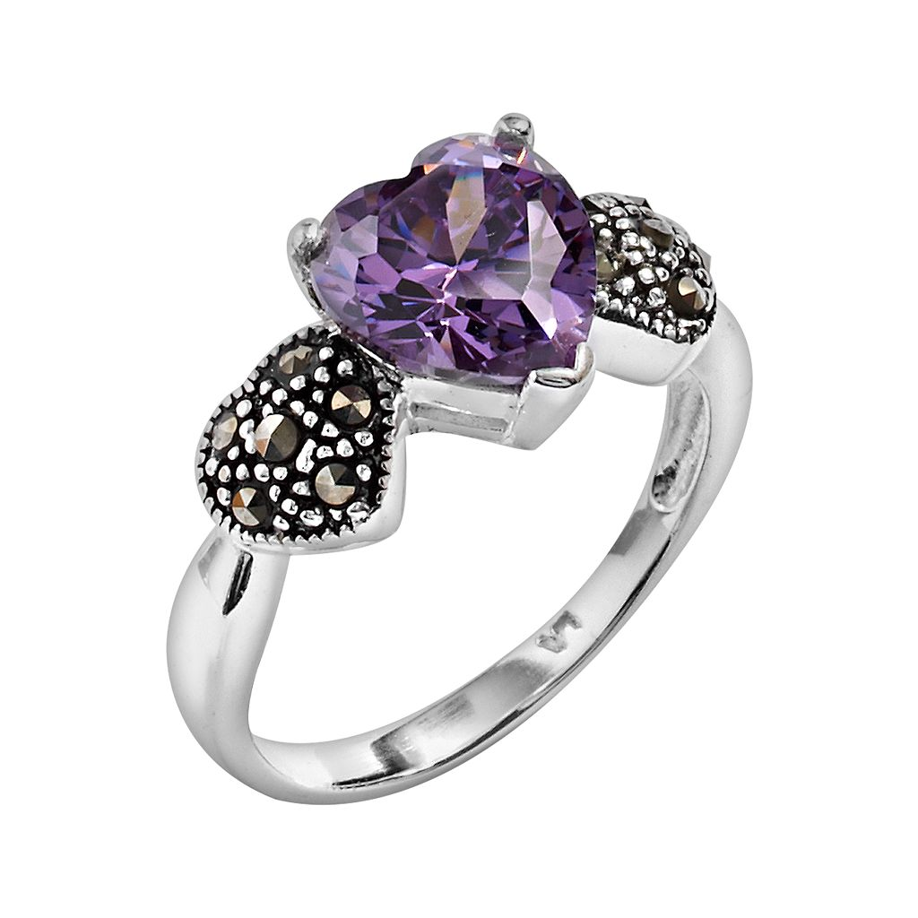 Silver Plate Cubic Zirconia Heart Ring